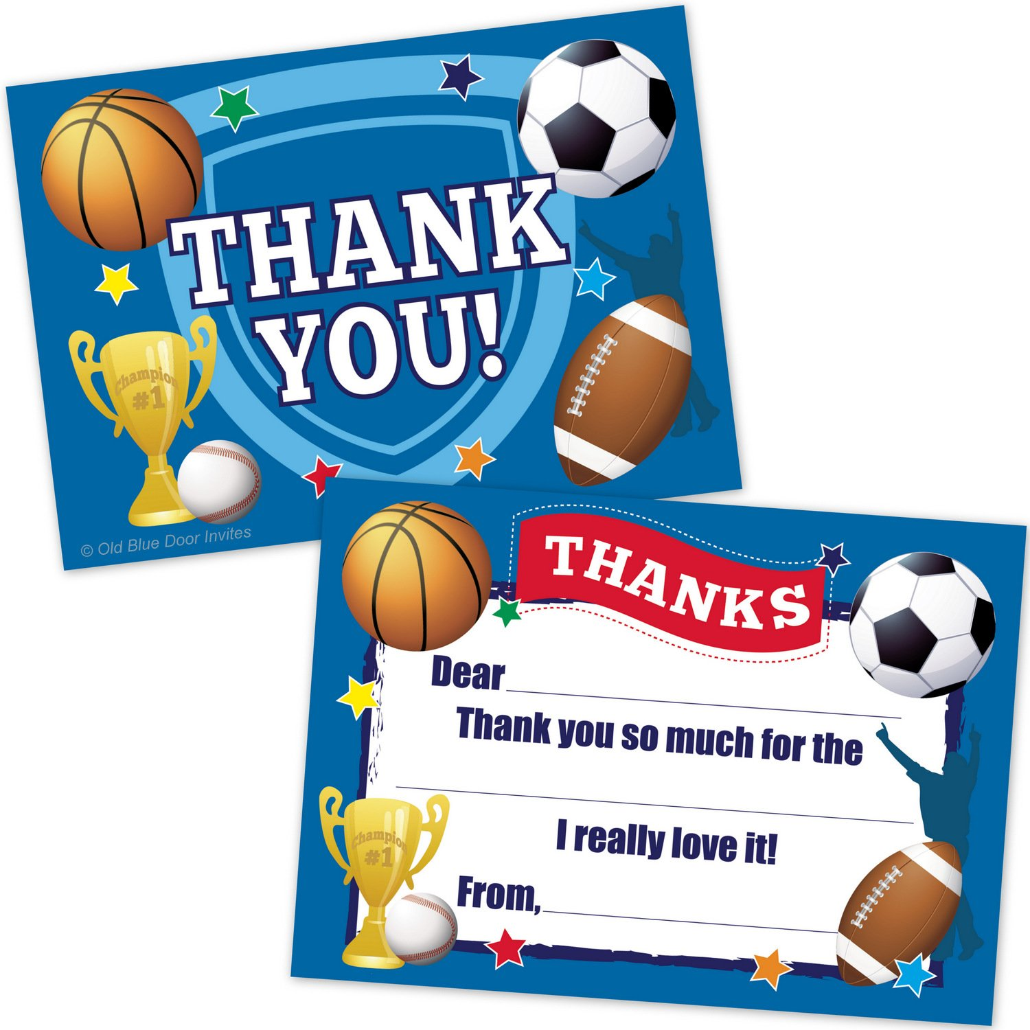 Sports Kids Fill In Thank You Cards - Football, Basketball, Baseball, Soccer Theme (20 Count with Envelopes)