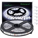 White LED Strip Lights, GuoTong Waterproof cuttable 300 SMD 2835 LED Tape, 6000K 12V 16.4ft/5m Flexible Ribbon, Kitchen…