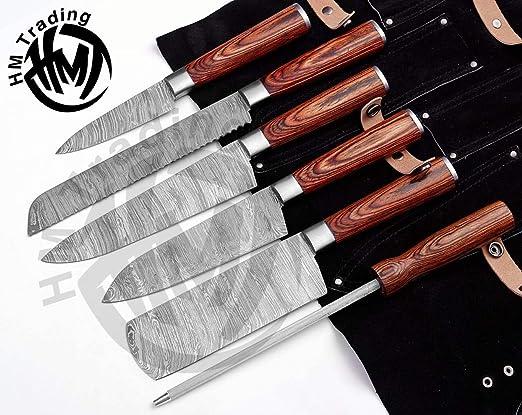 HM-(marrón) Juego de 6 cuchillos de cocina de acero de ...