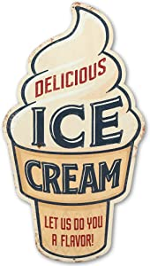 Open Road Brands Delicious Ice Cream Metal Sign - Fun Vintage Wall Décor for Kitchen or Dining Room