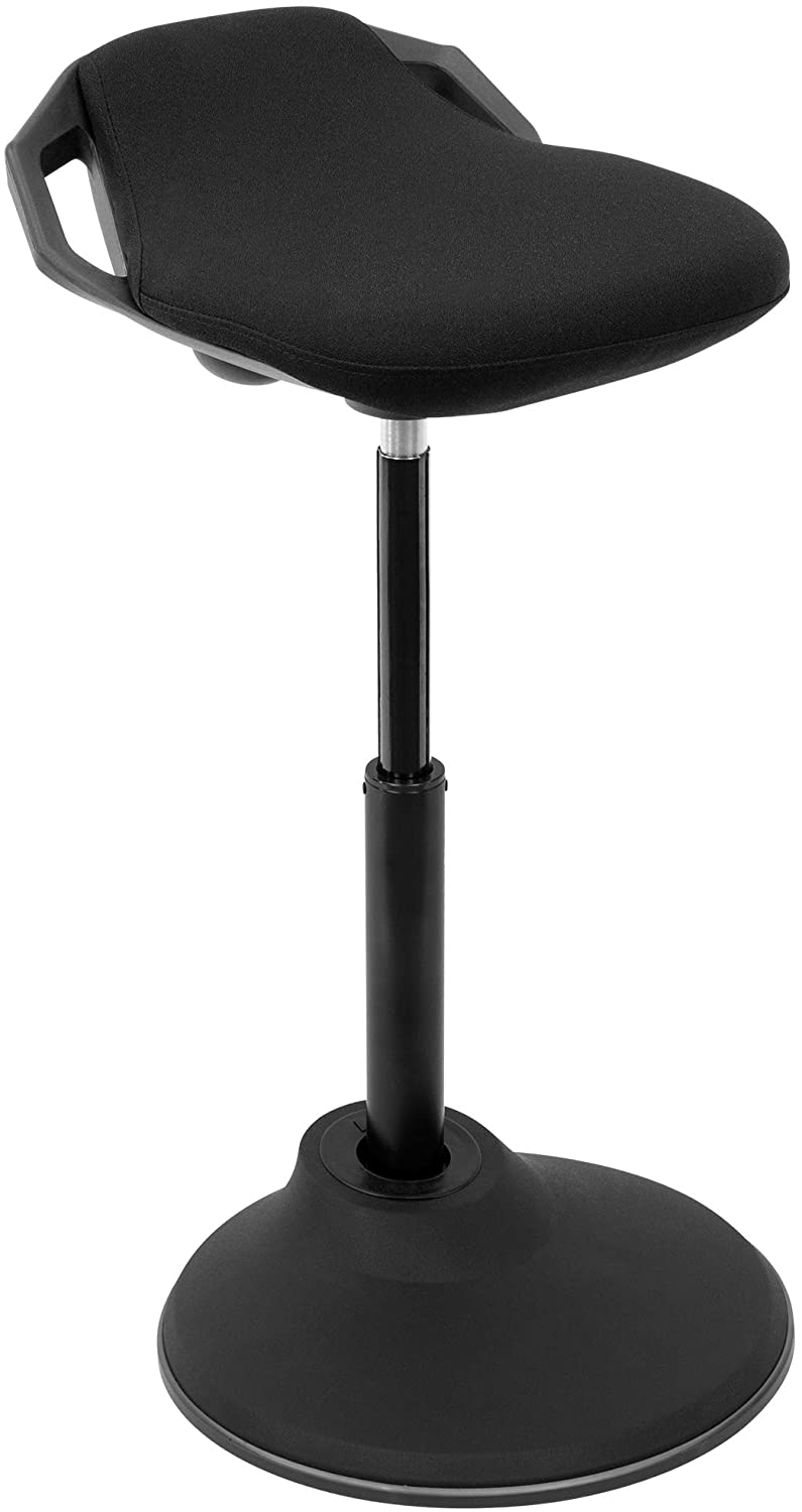 Mount-It! Ergonomic Sit Stand Stool [360° Tilt] Height Adjustable, Leaning Chair for Standing Desk, Airlift 360 Degree Sit-Stand, Sitting Balance Chair, Non-Slip Weighted Base (Black)