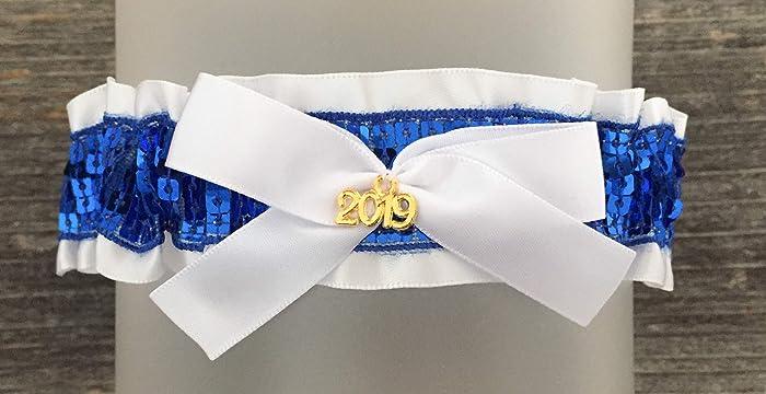 4e38d0d299f Amazon.com  White Royal Blue Prom Garter - White Blue Wedding Bridal Garter  - Gold 2019 Charm Prom Garters - Blue Sequin  Handmade