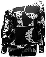 FashionMark Womens Off Shoulder Tie Dye Printed Plus Size Batwing Stretchy Top