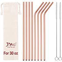 JOYECO 8 Pcs Reusable Metal Straws Stainless Steel Drinking with Case, 10.5 inches Extra Long for 20oz 30oz Tumblers…
