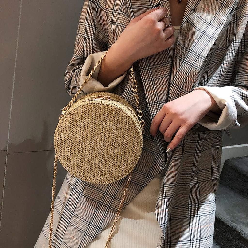 Goddessvan Fashion Women Retro Weave Flower Bag Circular Chain Crossbody Bag Shoulder Bags Round Bag Khaki
