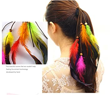 26d88958c Amazon.com : Dplus Feather Style Young Style Native American Headdress  Cheerleaders Ponytail Youthful Vigour (style 2) : Beauty
