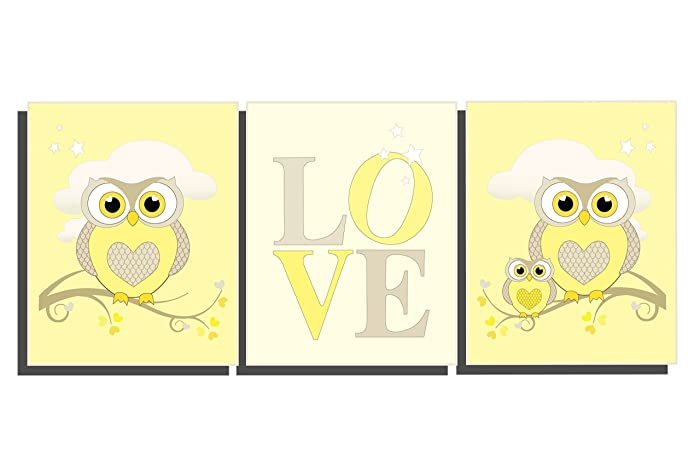 Amazon.com: Yellow Baby Room Nursery Decor Set of 3 Unframed Prints ...