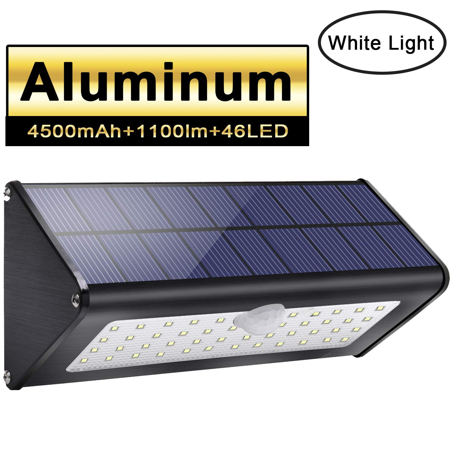1100lm 4500mAh 46 LED Aluminum Black Solar Outdoor Light 120° Infrared Motion Sensor, Waterproof IP65 Wireless Security Light with 4 Intelligent Modes for Garden, Patio, Fence, Yard, Garage, Stairway, Gate, Wall- Warm White Light Licwshi