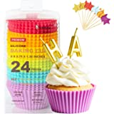 Katbite Silicone Cupcake Baking Cups 24 Pack, Heavy Duty Silicone Baking Cups, Reusable & Non-stick Muffin Cupcake Liners for