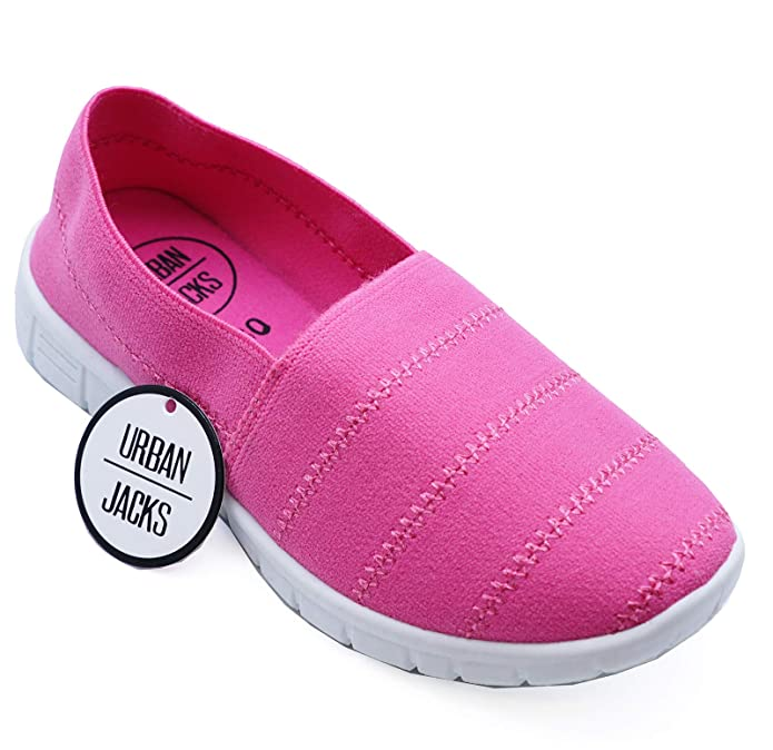 49dcd732cd HeelzSoHigh Girls Kids Childrens Pink Slip-On Casual Plimsolls Pumps  Trainers Shoes Sizes 10-3: Amazon.co.uk: Shoes & Bags