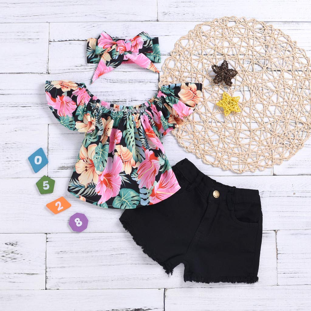 Solid Color Shorts Printed Headband Outfits Set Womola 3pcs Baby Girls Flying Sleeve Floral Flower Frilled Top