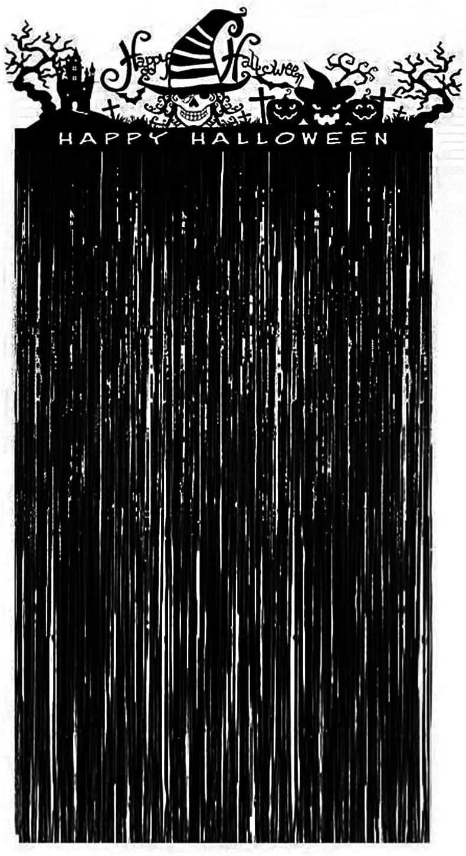 VEYLIN Halloween Door Curtain, Black Shiny Entrance Doorway Curtain with Spooky Halloween Skeleton Decoration (3.28X6.56 Feet)