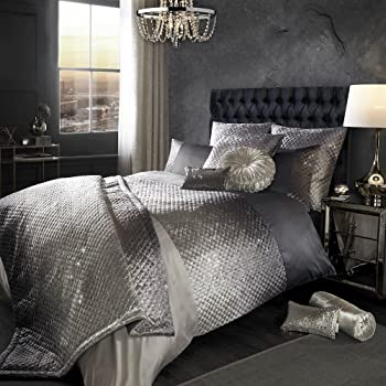 Kylie Minogue Luxury Gia Quilted Velvet Duvet Quilt Cover Bedding - Ombre Gray - UK King