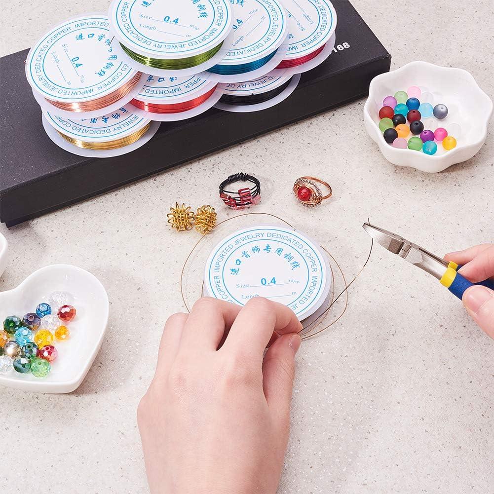 PandaHall Elite 10 Rouleaux 0.4mm Fil de Bijoux en Cuivre et 1pcs Pinces Coupantes en Fer Pince Bijoux Outil de Bricolage Craft