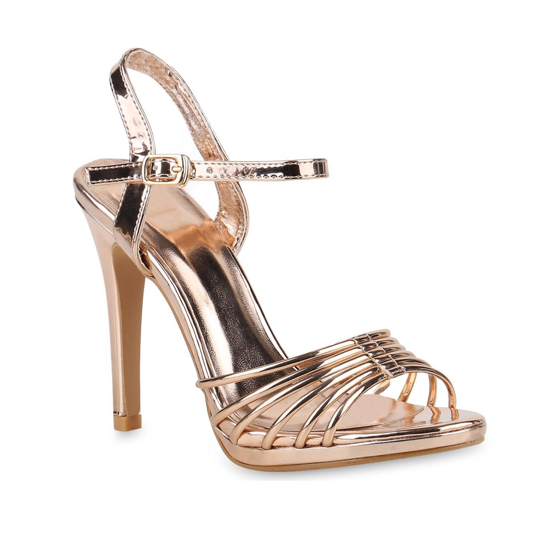 Stiefelparadies Damen Sandaletten High Heels mit Pfennigabsatz Strass Nieten Flandell Rose Gold Lack