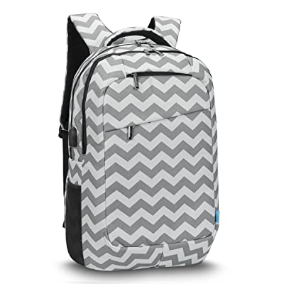 CoolBELL 17.3 Inch Laptop Backpack With USB Charging Port Function / Multi-compartment Travel Rucksack / Water-resistant Knapsack / Protective Day Pack For Men / Women (Grey Wave)