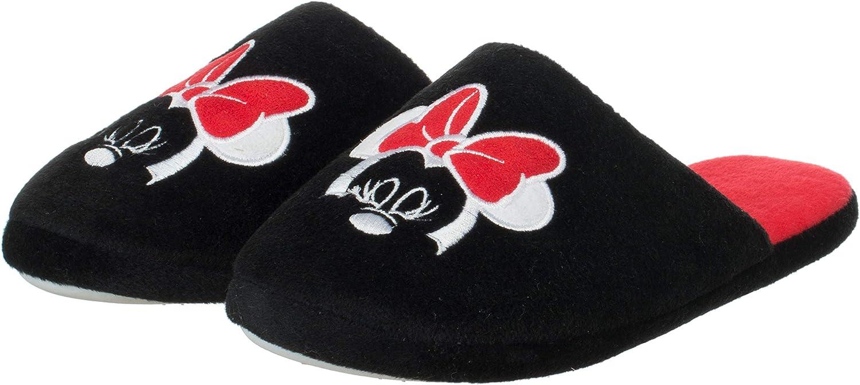 Damen Disney Hausschuh Pantolette Minnie Mouse Schwarz//Rot