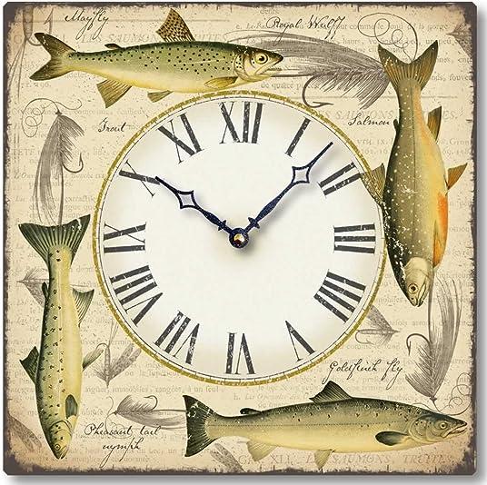 Fairy Freckles Studios Item C8214 Antique Style 12 Inch Fish Clock