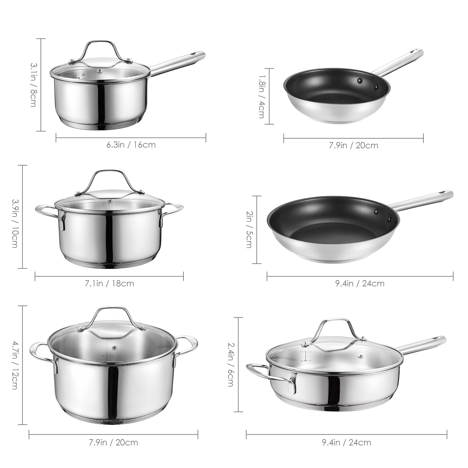 Deik Cookware Set, Kitchenware Set, MultiClad Pro Stainless Steel 12-Piece Pots and Pans Set, Rustproof & Oven-Safe Cooking Pots, PFOA Free & Riveted Handles with a Bonus of Oven Mitts by Deik (Image #8)