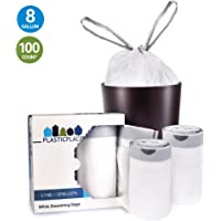"""Plasticplace W8DSWHJR100 8 Gallon Trash Bags │ 0.7 Mil │ White Drawstring Garbage Can Liners │ 22"""" x 22"""" (100 Count)"""