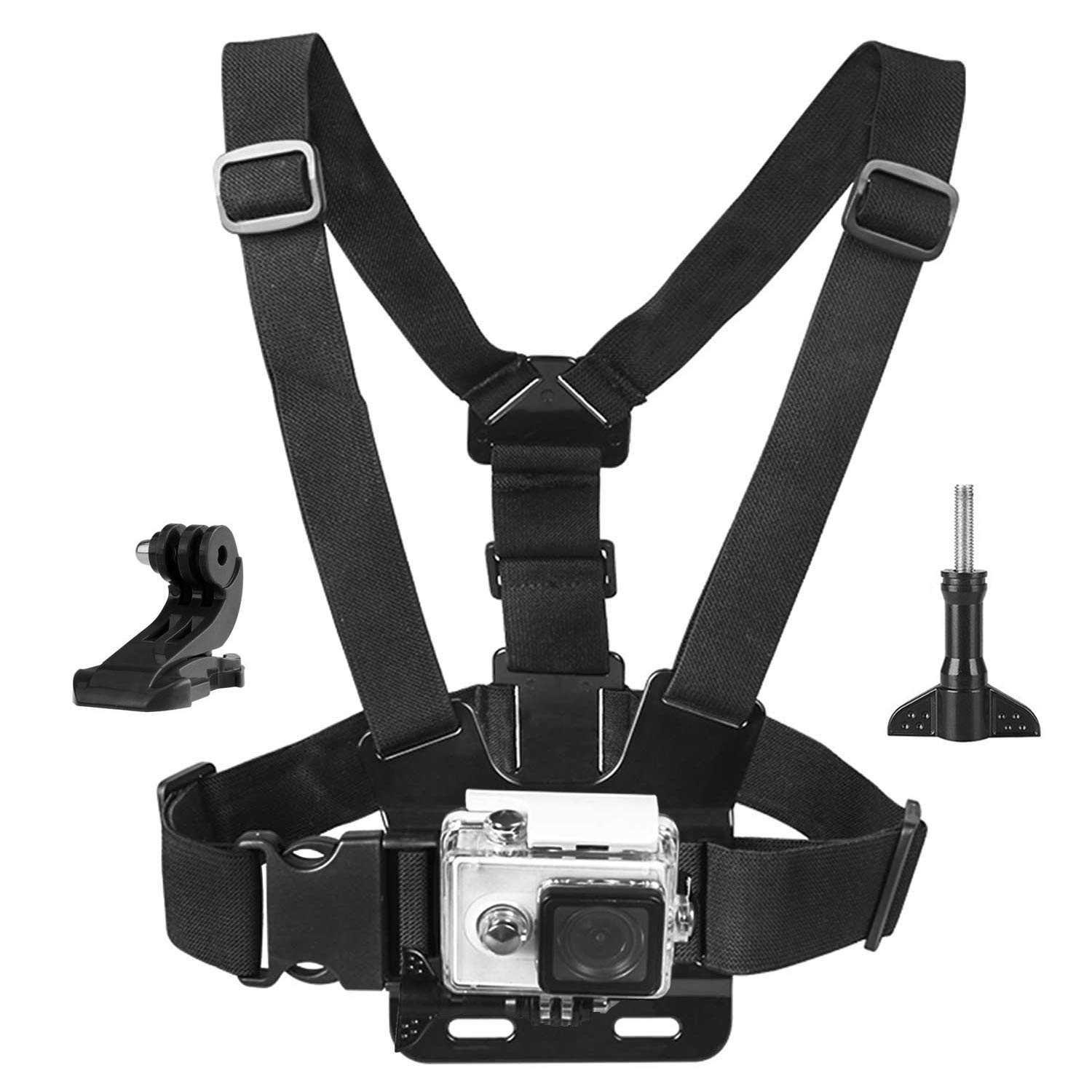 Topmener Chest Mount Harness Chest Strap Compatible with Gopro Hero 7, 6, 5, Hero 4/5 Session, Hero+ LCD, 3+, 3, 2, 1, DJI Osmo with Thumbscrew and J-Hook, Fully Adjustable by Topmener