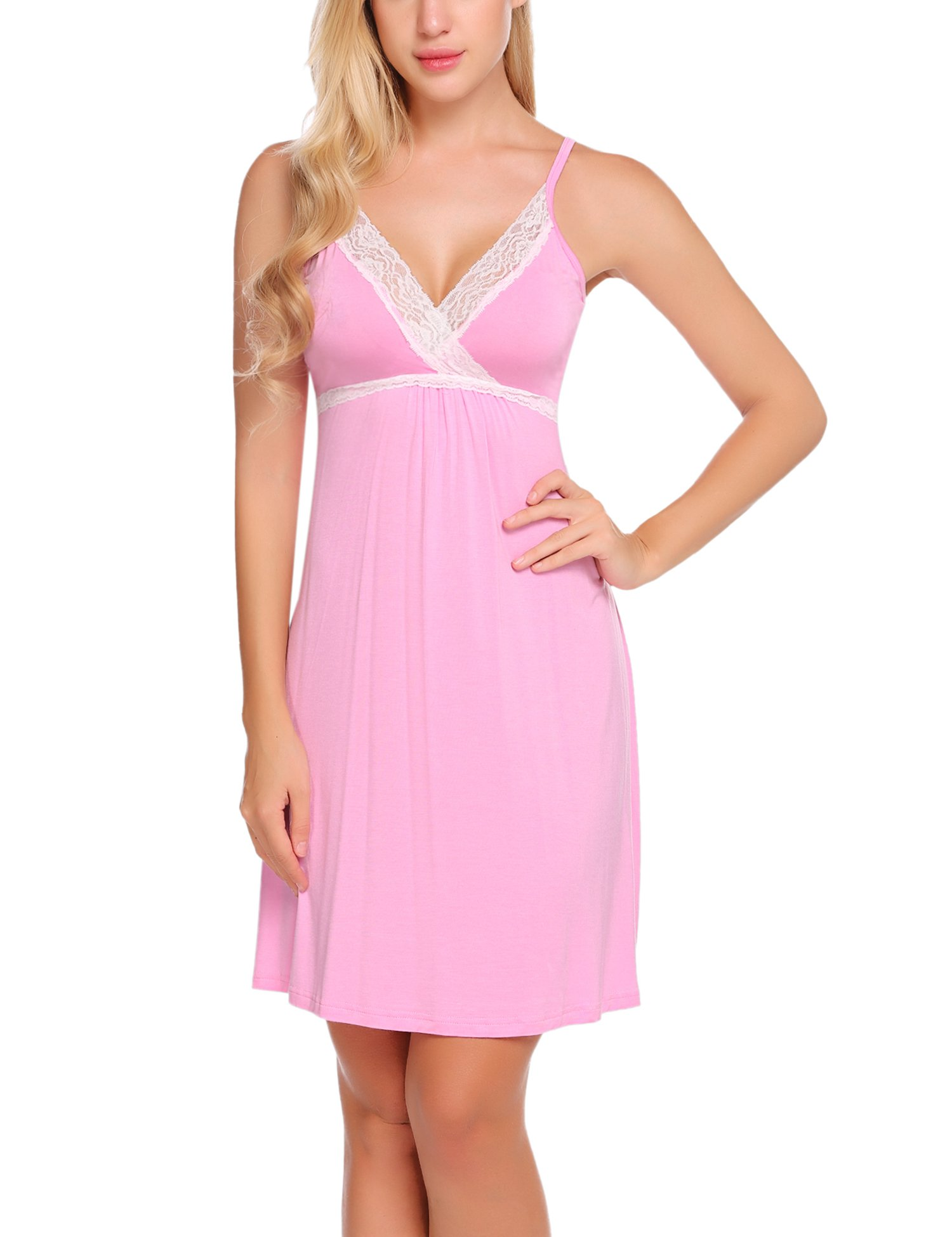 Hotouch Womens Nightgowns Sexy Sleepwear Cami Lace Slip Dress Pink M