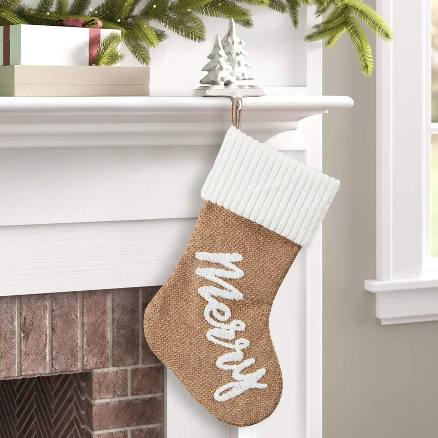 GMOEGEFT 18 Inches Christmas Stocking Set of 3 Burlap with Snowflake Applique Farmhouse Style Handicraft Xmas Tree Home Decoration Ornaments