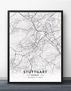SKYROPNG Prints Canvas,Germany Stuttgart City Map Simple Mural Art Black White Poster Pop Minimalist Painting Modular Living Office Personalised Culture Ink Space Decoration,60Cm X 80Cm/23.6 31.5 in