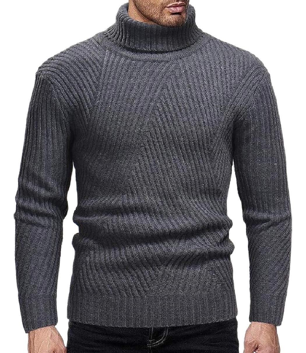 ZXFHZS Men Pullover Fall Winter Chic Soft Turtle Neck Chevron Stripes Knitting Sweater