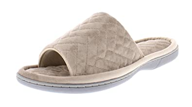 27e3e69c6 Gold Toe Women s Adreanna Chevron Quilted Open Toe Slide On Memory Foam Flip  Flop House Scuff