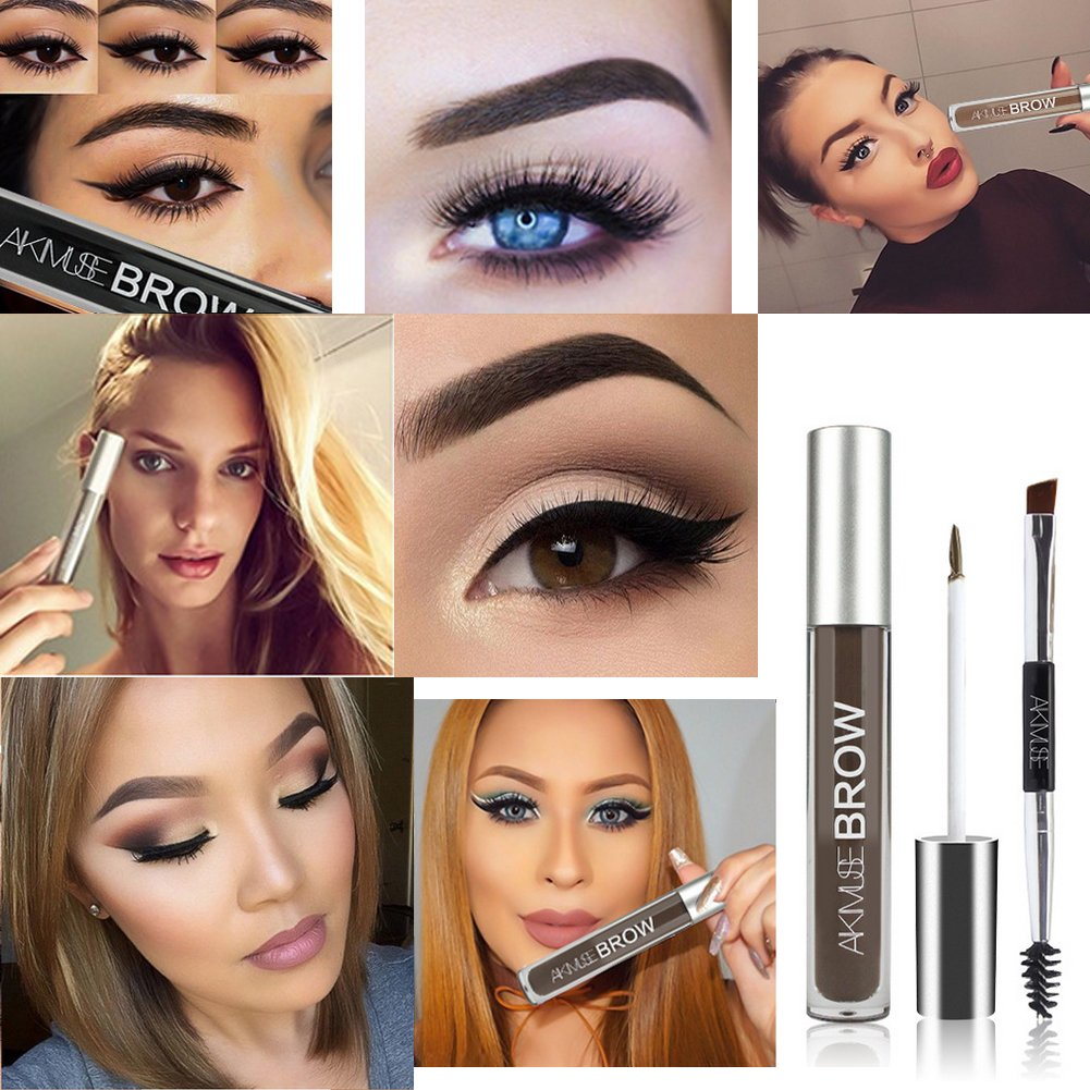 Waterproof Eyebrow Pen, WeChip Semi Permanent Eyebrow Gel Fast Dry Waterproof Anti-sweat Long Lasting Double-ended Pen Eye Makeup (# Black-Brown)