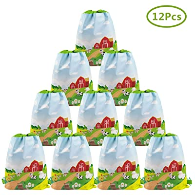 Cieovo 12 Pack Farm Animal Party Favor Bags, Barnyard Gift Treat Goody Drawstring Backpacks Centerpiece Decorations for Farm Theme Kids Birthday Baby Shower Classroom Party Supplies: Toys & Games
