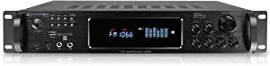 Technical Pro 1500 Watt Multi-Channel Bluetooth Home Stereo Digital Hybrid Amplifier with USB and SD Inputs, 2 Mic Inputs, AM/FM Digital Tuner, Wireless Remote, Bass & Treble Controls.
