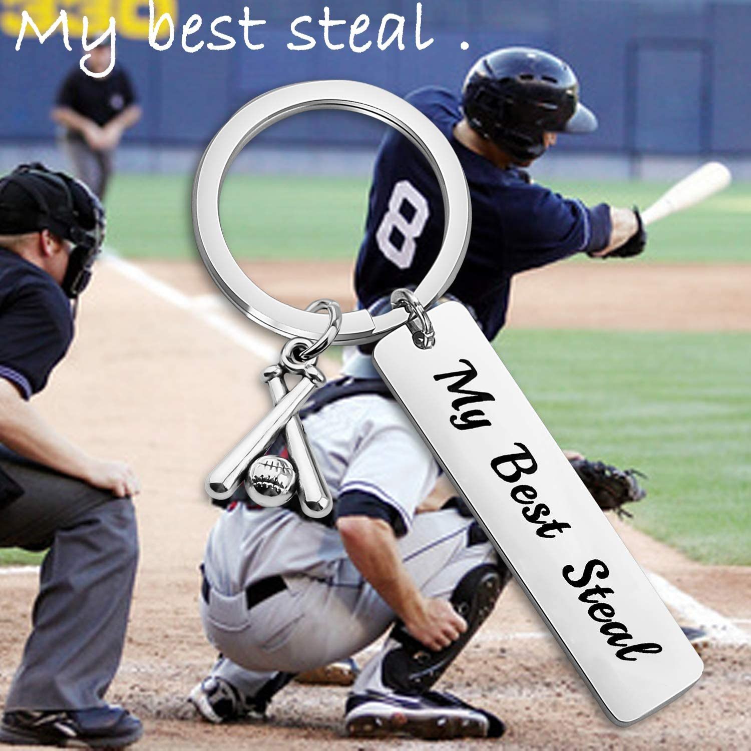 WUSUANED Baseball Player Gift My Best Steal Keychain Baseball Team Gift Baseball Jewelry
