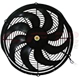 """12"""" High Performance Electric Radiator Cooling Fan - Curved Blade"""