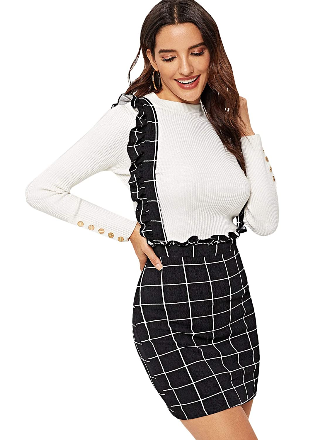 3566f670ff SheIn Women's Plaid Frill Ruffle Trim Suspender Skirt Pinafore Overall Dress  at Amazon Women's Clothing store: