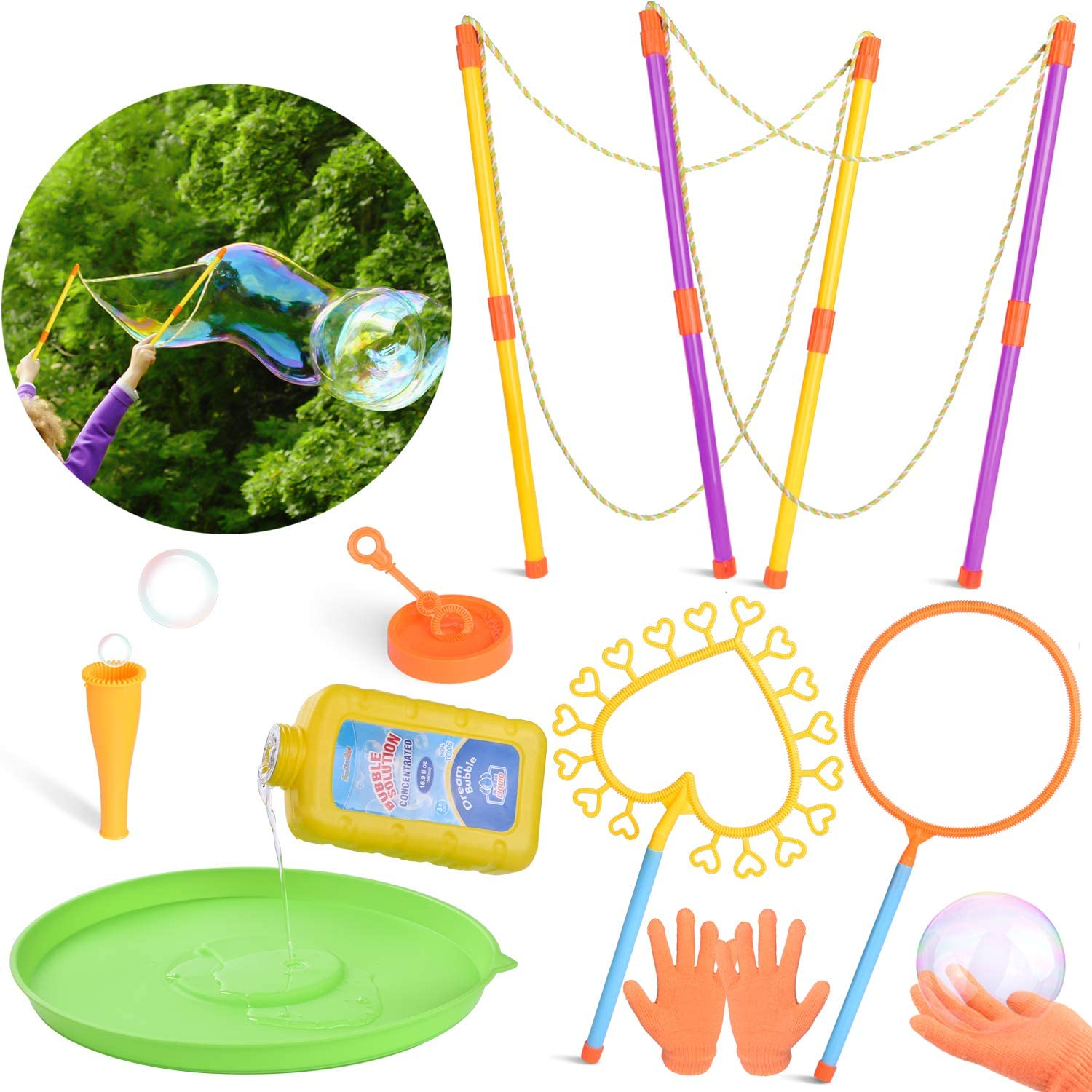 FUN LITTLE TOYS 10 Pack Giant Bubble Wands Set for Kids, Summer Birthday Party Favors for Kids, Kids Outdoor Toys Set