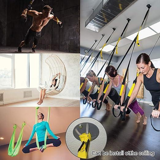 Soporte de pared para correas de suspensión. Entrenador de resistencia - Montaje en pared y techo Anclaje olímpico, sistemas de entrenamiento de ...