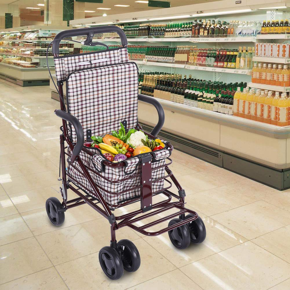 Shopping Cart Premium Folding Shopping Cart with Swivel Wheel and Canvas Bag Utility Old Trolley Four-Wheeled Walker Old Man Stroller