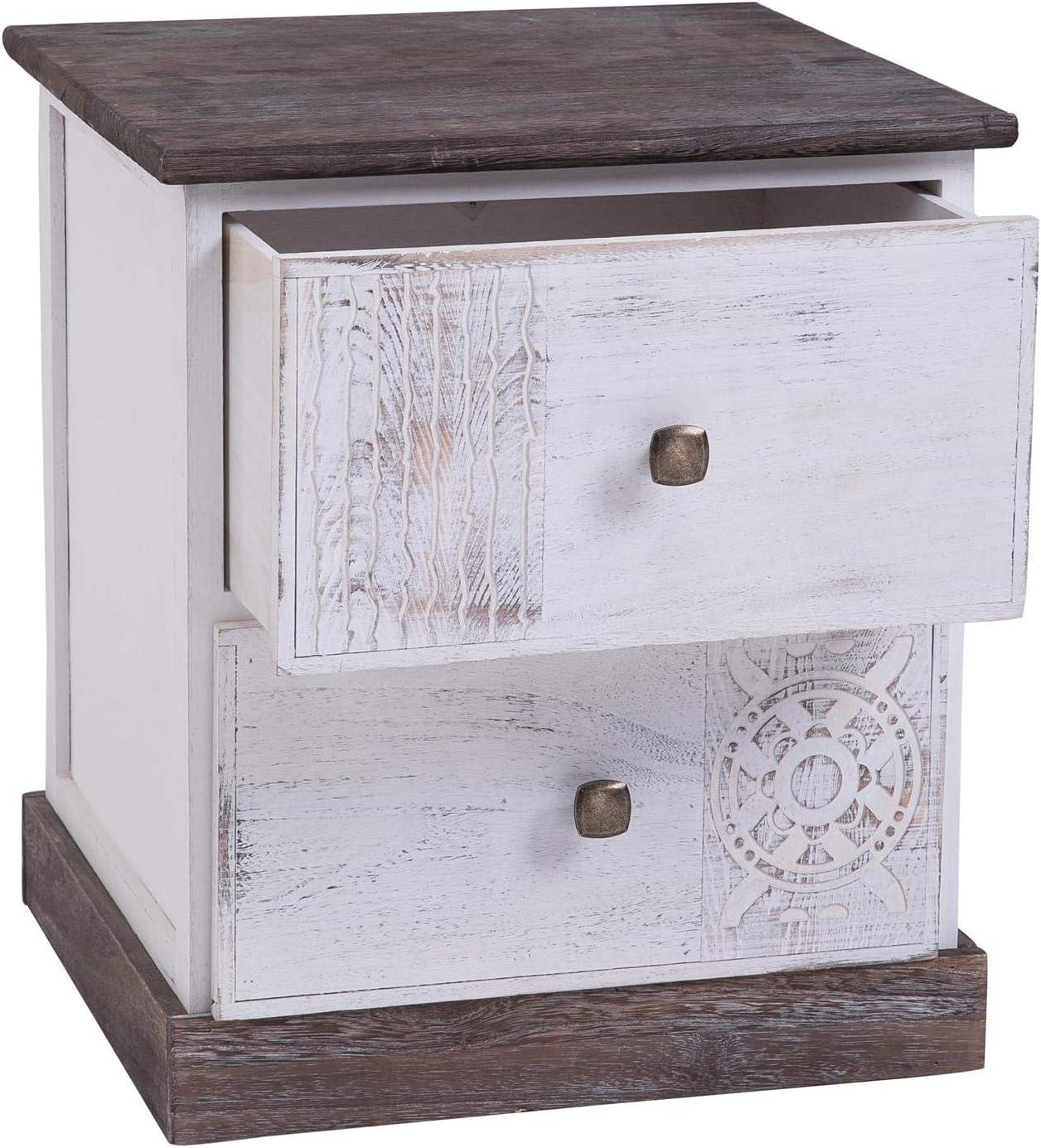 IDIMEX Table de Chevet Juna Table de Nuit avec 2 tiroirs en Bois de Paulownia Blanc Style Vintage Ethnique boh/ême avec gravures