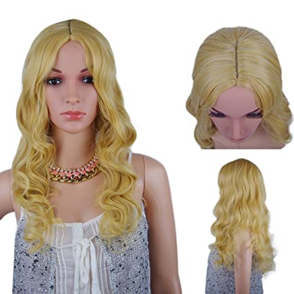 Spretty Mujer de mediana parte brillante rubia larga rizado ondulado peluca mullida para el vestido diario