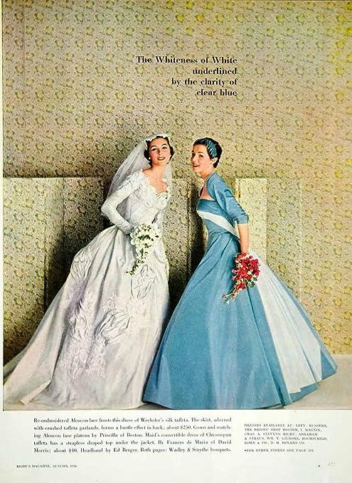 1956 Ad Bride Wedding Dress Priscilla Of Boston Blue Bridesmaid
