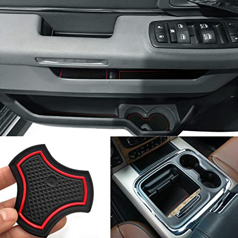 Ram 1500 Accessories >> Auovo Anti Dust Door Mats For Dodge Ram 1500 2500 Crew Cab 2016 2018 Interior Accessories Door Cup Console Liners Red For Full Console With Sliding