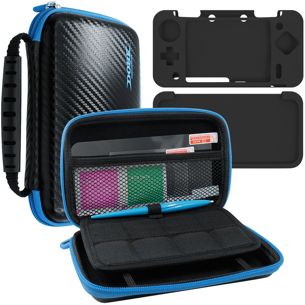 4 in 1 Protective Kit Compatible New Nintendo 2DS XL, AFUNTA Zipper Carrying Case, Silicone Cover, Stylus & 2 PET Films Screen Protectors for Top & Bottom Screens, for 2DS LL & Accessories - Black by AFUNTA (Image #1)