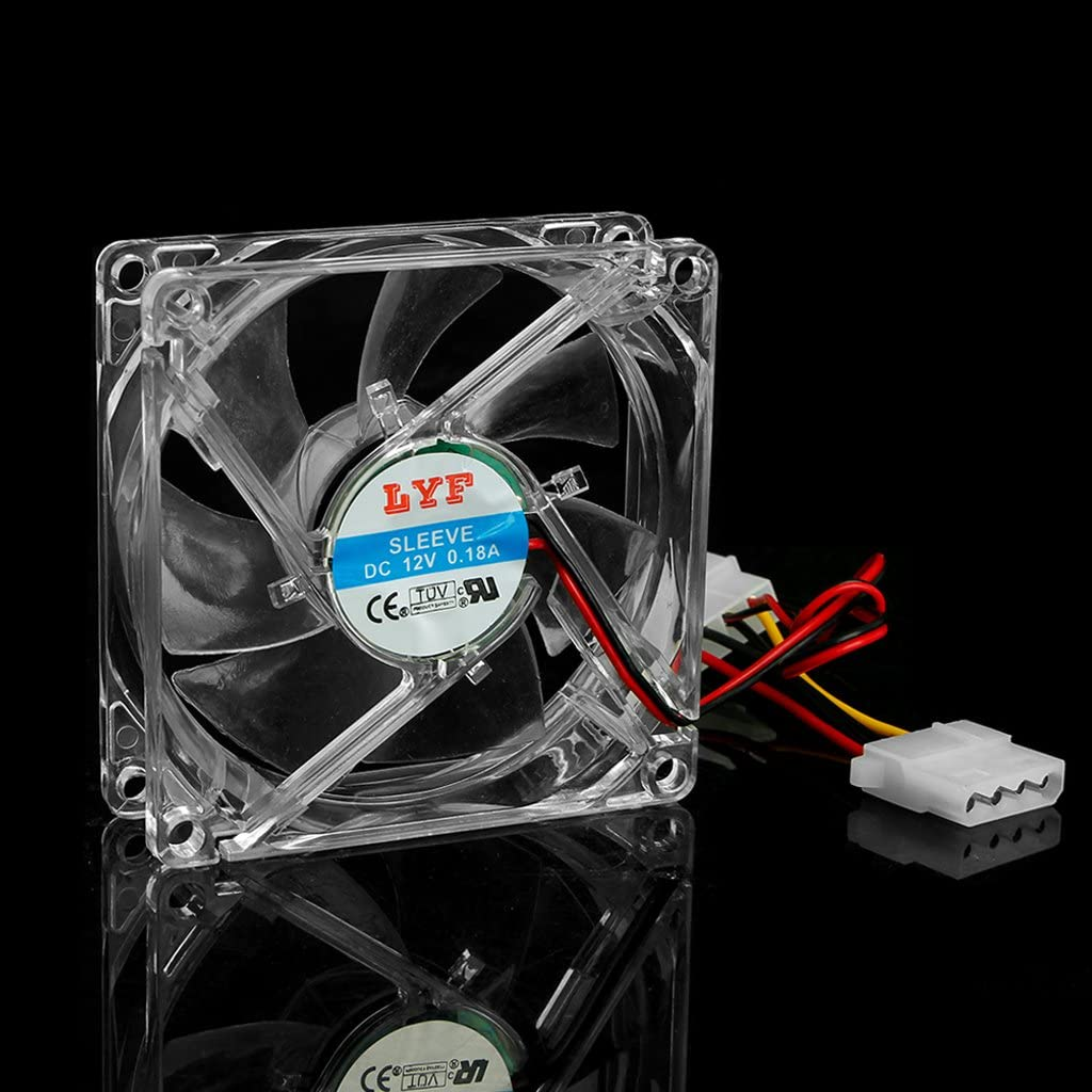 Yuanhaourty 12V 0.18A PC Computer Case Cooling Fan 8025 with Clear 4-LED Blue Neon Light 80mm