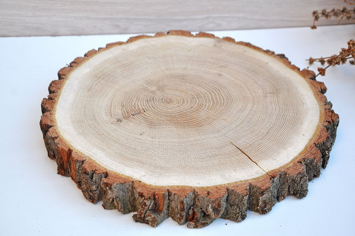 Amazon.com: 13\'\' round oak wood slice cake stand Rustic wedding ...