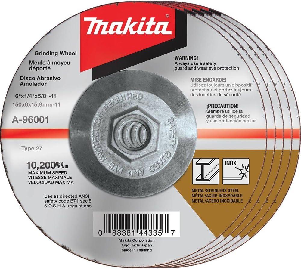 4-1//2 x 1//4 x 5//8-11 Makita A-95984 36 Grit INOX Grinding Wheel