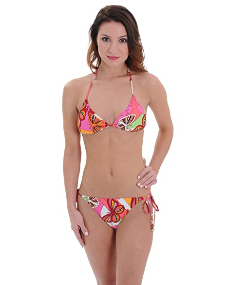 738e223005 Amazon.com: 2 Piece Bikini Bathing Suit with Colorful Butterfly and Floral  Print Junior Sizes: XS: Clothing