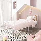 SimLife Single Bed Platform Kids Boys Adult No Box Spring Needed Princess White Twin Size Bed Frame with Headboard and Footbo