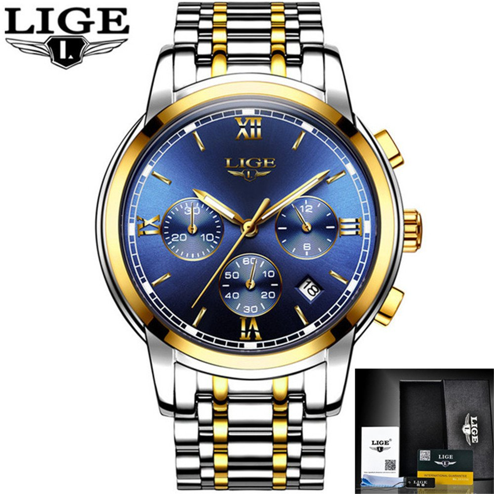 Mens Watches Top Luxury Business Quartz Watch Men Full Steel Fashion Waterproof Sport Clock Relogio Masculino,Gold Blue,Steel Fathers Day Birthday ...